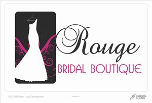 GSC 900 Green Signs Series Logo Design Rouge Bridal Boutique Greensburg IN